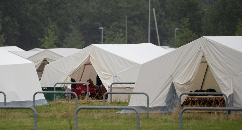 Flüchtlingsunterkunft am HSV-Stadion in Hamburg