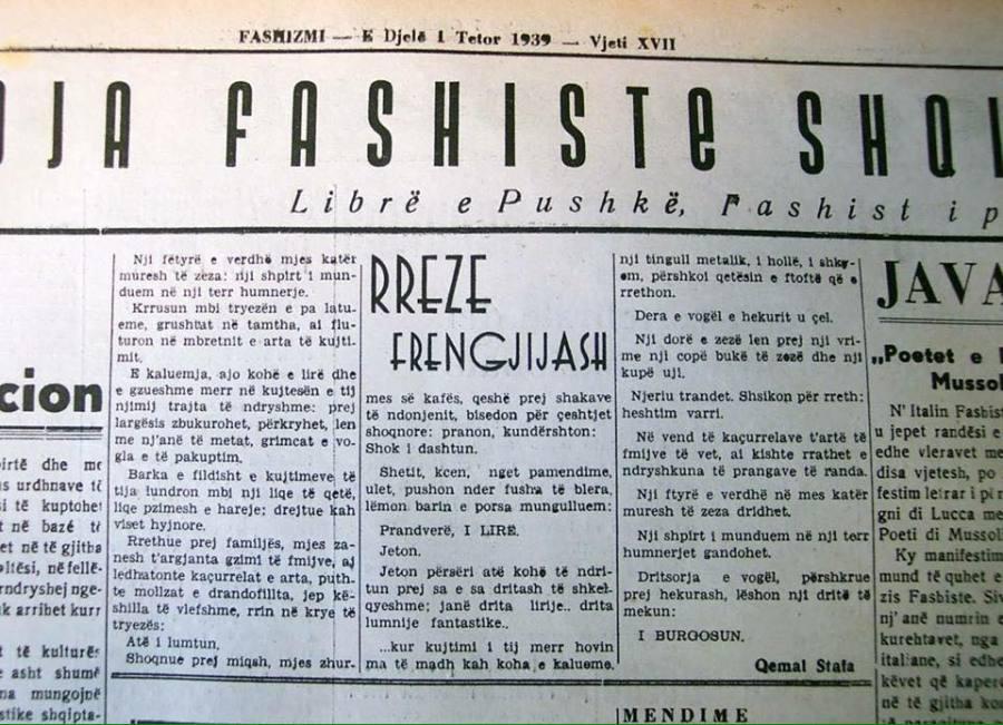 Qemal Stafa shkruan ne gazetat fashiste
